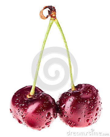 Free Pair Of Red Ripe Cherry Fruit With Water Drops Royalty Free Stock Photography - 33951777