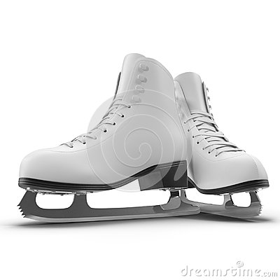 Free Pair Of Women`s Figure Ice Skates Isolated On White. 3D Illustration, Clipping Path Stock Photography - 94516122