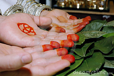 pair of palms in a traditional wedding ceremony