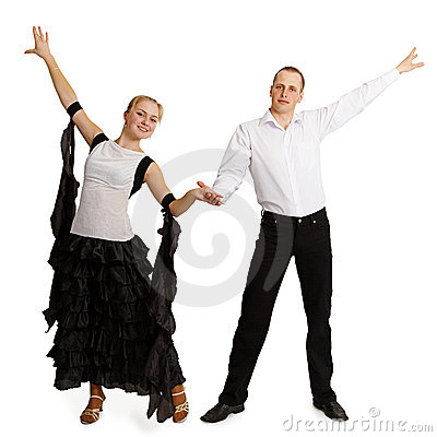 Pair of professional dancers finished dancing