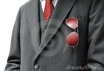Pair of Red Aviators in Businessman s Pocket
