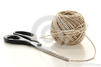 Pair of Scissors and Spool of Natural Twine String