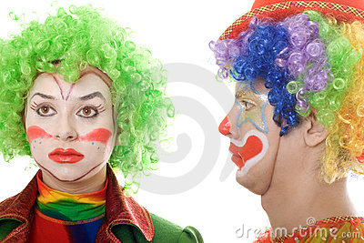 Pair of serious clowns