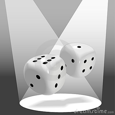 Pair of Shiny Dice Roll a Lucky 7 in Spotlight