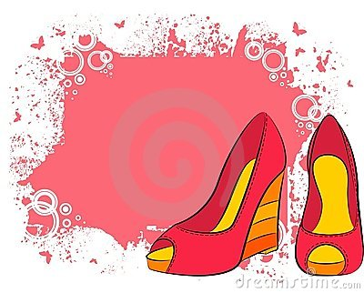 Pair of shoes with high heel Vector Illustration