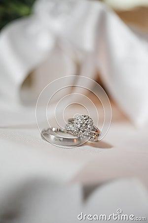 Pair of silver wedding rings