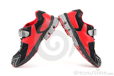 Pair of sports shoes, black and red colors