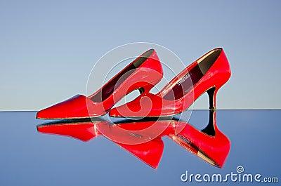 A pair of stiletto on mirror