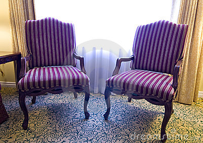 Pair of striped fabric chairs