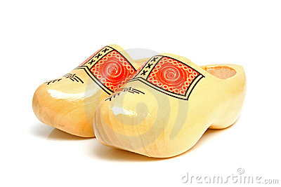 Pair of traditional Dutch yellow wooden shoes