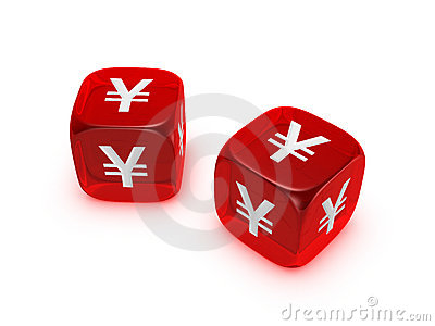Pair of translucent red dice with yen sign