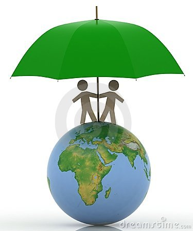 Pair With An Umbrella On A Globe Stock Photo - Image: 20620010
