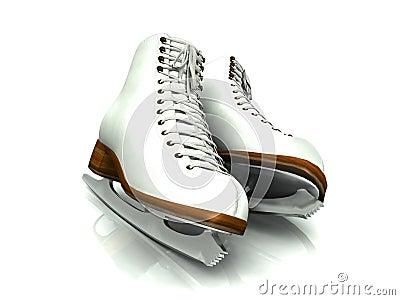 A pair of white figure skates.