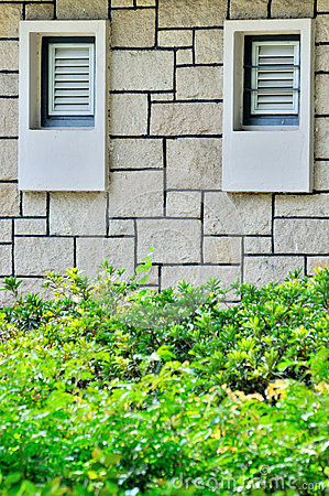 Pair of windows on wall