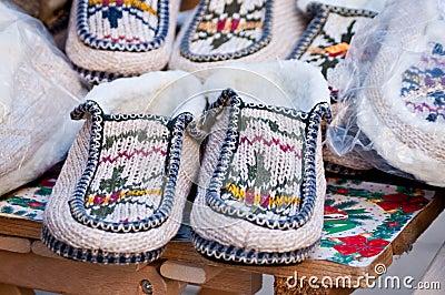 Pair of winter indoor shoes
