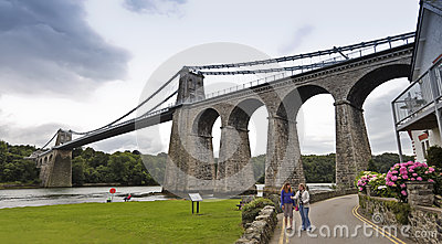 A Pair of Women at the Menai Suspension Bridge Editorial Photography