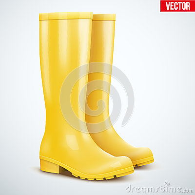 Pair of yellow rain boots Vector Illustration