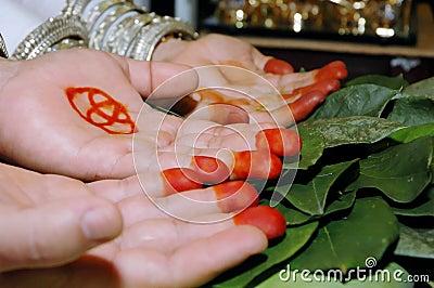 Paires de paumes dans une cérémonie de mariage traditionnelle