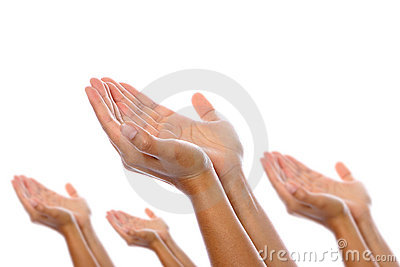 Pairs of hands placed together