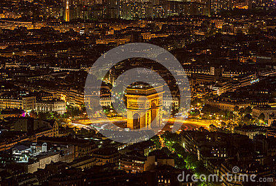 Paris by Night-  Aerial View