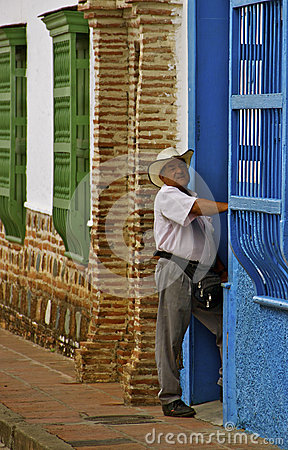 Colombian Man, Colonial Houses, Colombia Editorial Photography