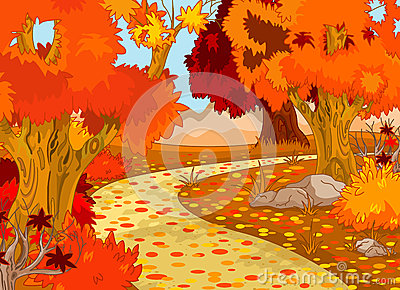 Paisagem da floresta do outono