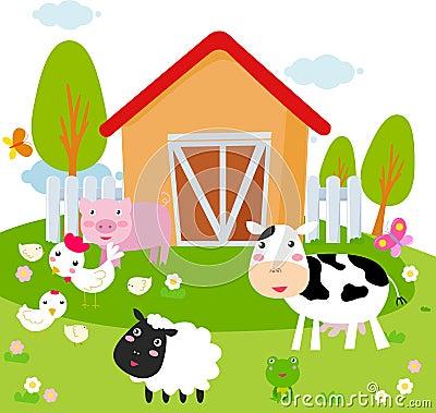 Paisagem rural com animais de exploração agrícola.