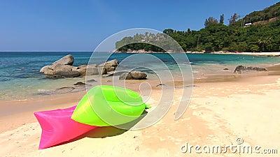 Paisaje con mar y playa, Tailandia almacen de video