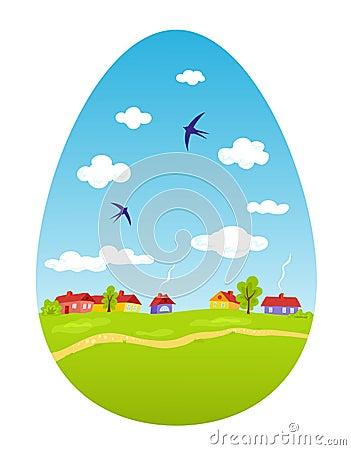 Paisaje de la primavera bajo la forma de huevo de Pascua