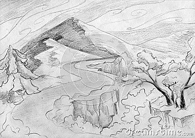 Paisaje del camino de la montaña
