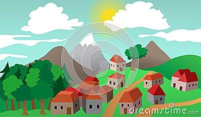Paisaje del suburbio del pueblo o de la ciudad