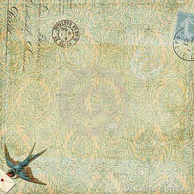 Paisley background vintage blue bird with letter