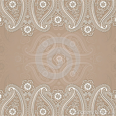 Paisley Border Lace Design Template Stock Vector - Image ...
