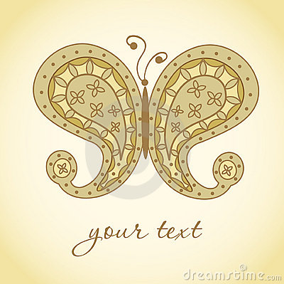 Paisley butterfly. Hand-Drawn ornate doodle