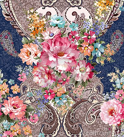 Free Paisley Floral Pattern In Russian Style. Medallion With Red Poppy And Light Blue Flowers. Winter Design. Royalty Free Stock Photos - 110898778