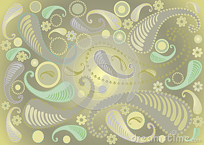 Paisley pattern on light green background.