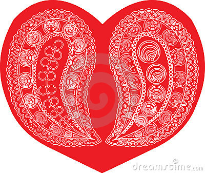 Paisley on red heart