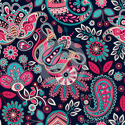 Free Paisley Seamless Pattern Royalty Free Stock Images - 60045769