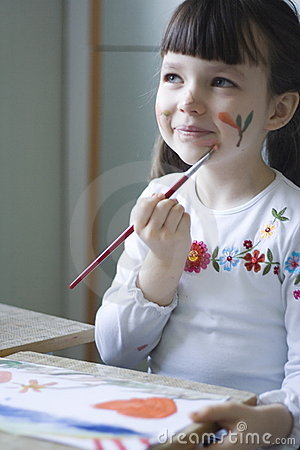 Free Paiting Girl Royalty Free Stock Photography - 481207