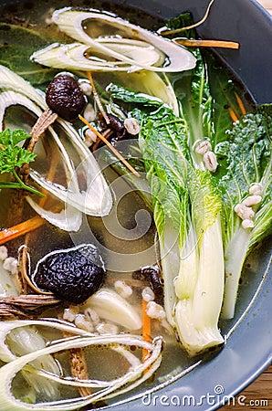 Free Pak Choy And Tea Tree Mushrooms Soup Stock Photo - 34717740