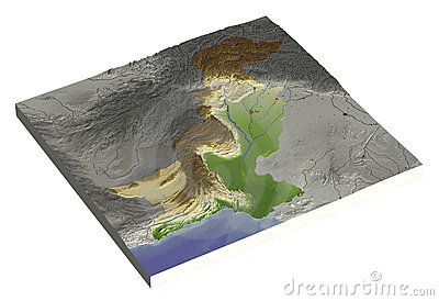 Pakistan, 3D relief map