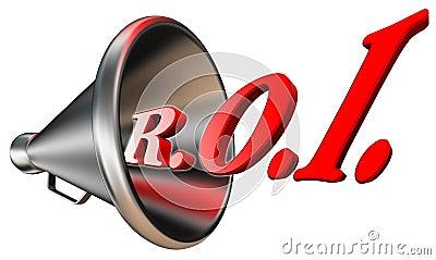 Palabra roja del ROI en megáfono
