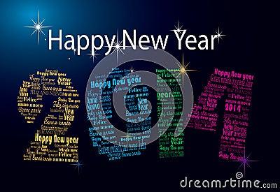 Palabras de la Feliz Año Nuevo 2014 en muchas idiomas