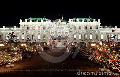 Palace Belvedere with Christmas Market in Vienna Editorial Photography