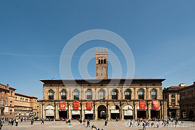 Palace in Bologna main square Editorial Photography