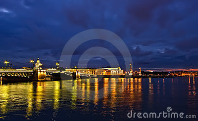 Palace Bridge at night, St.Petersburg