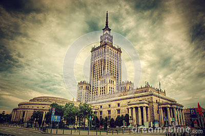 The Palace of Culture and Science, Warsaw, Poland. Retro