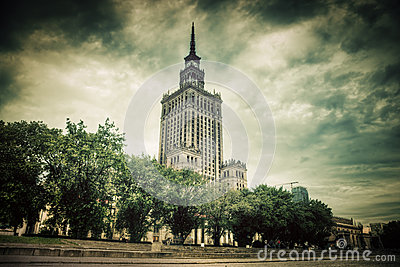 The Palace of Culture and Science, Warsaw, Poland. Retro, vintage