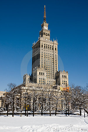 Palace of Culture and Science in winter