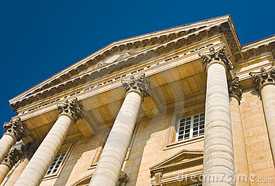 Palace facade with columns in Versailles